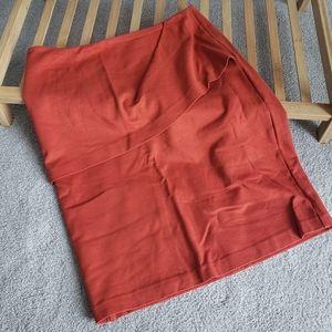 Orange Skirt with Front Ruffle